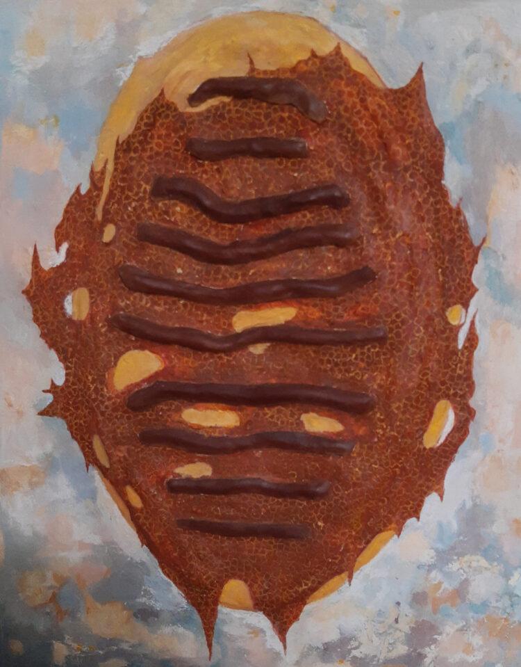 trilobiet, gips, pigment, leer op canvas